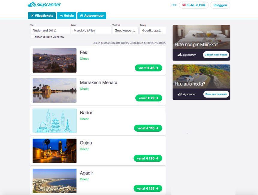 goedkope vluchten naar marokko